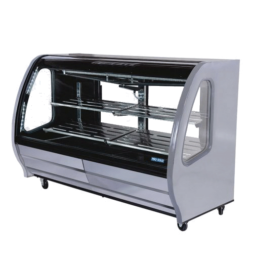 PRO-KOLD DDC-80 74″ Wide Curved Glass Deli/Bakery Display Case